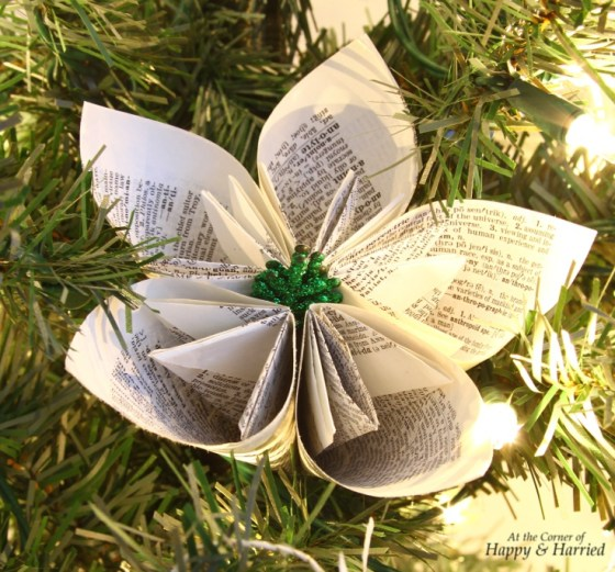 Book Page Flower Ornament