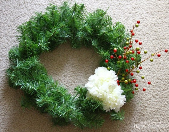 Faux Evergreen Wreath With Flowers