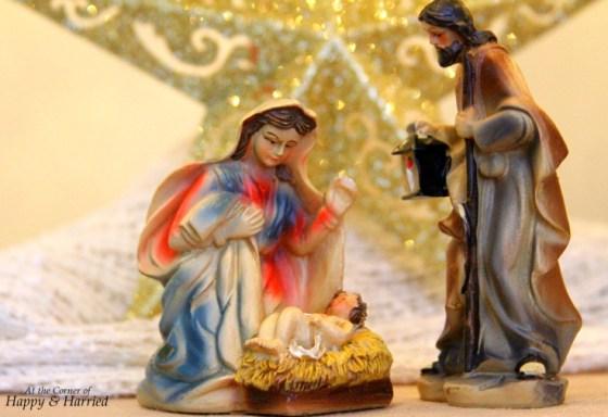 Nativity Scene Below Christmas Tree