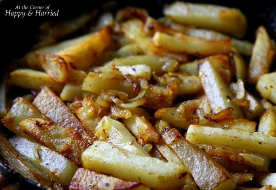 Pan Fried Potatoes, Onions & Garlic