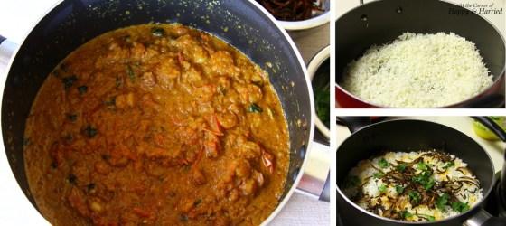 Shrimp Dum Biryani Rice, Masala & Layering