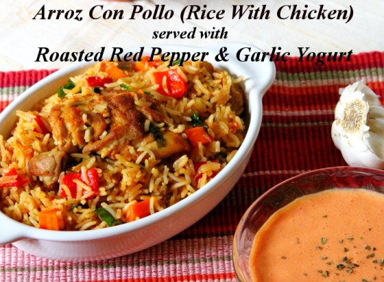 Arroz Con Pollo Served With Roasted Red Pepper & Garlic Yogurt