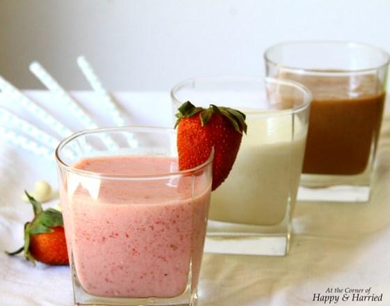 Summer Milkshakes - Strawberry, Cashew Nut And Chocolate