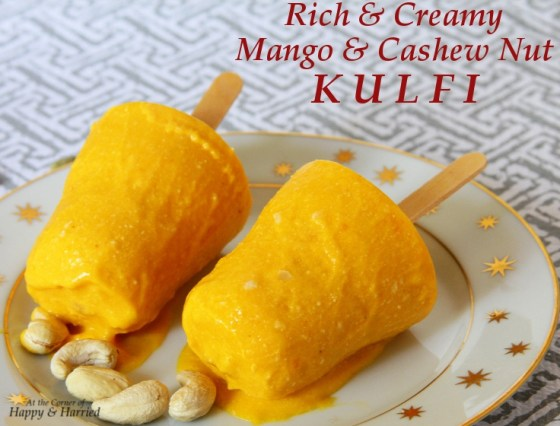 Rich And Creamy Mango & Cashew Nut Kulfi Pops