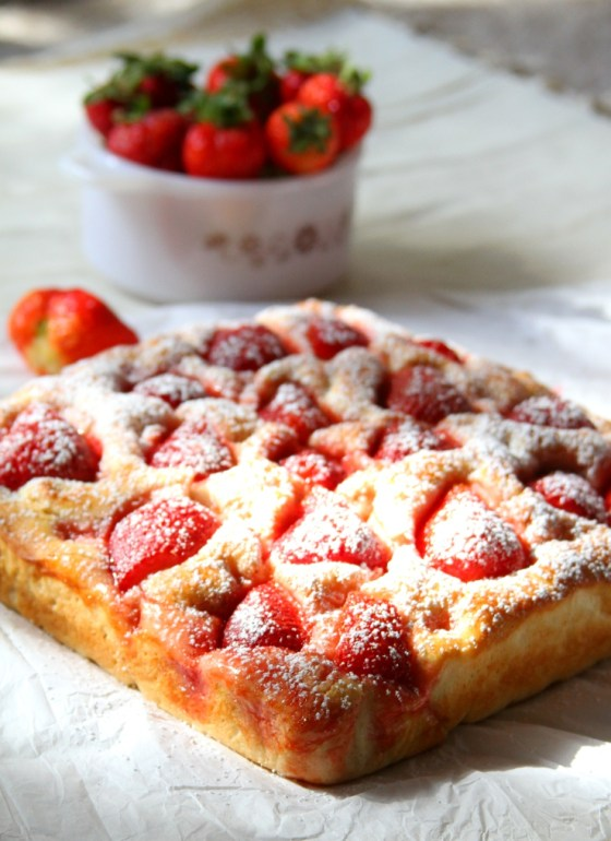 Strawberry Focaccia Bread With Powdered Sugar