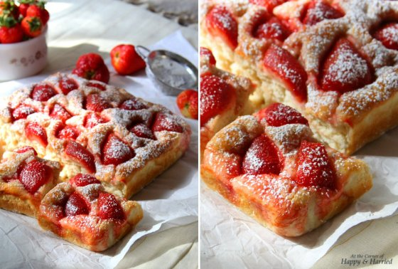 Sweet Focaccia Bread With Strawberries & Powdered Sugar