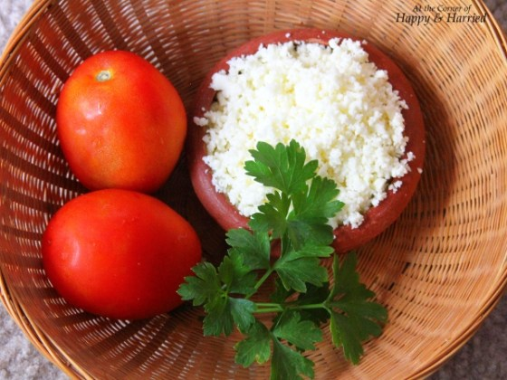 Tomato, Parsley & Crumbled Paneer or Indian Cottage Cheese