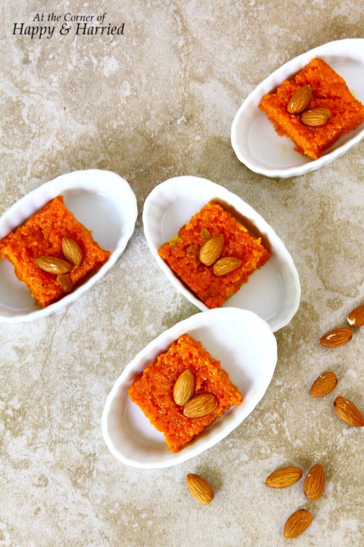 Easy Carrot Barfi or Sweet Carrot Bars (Indian Dessert)