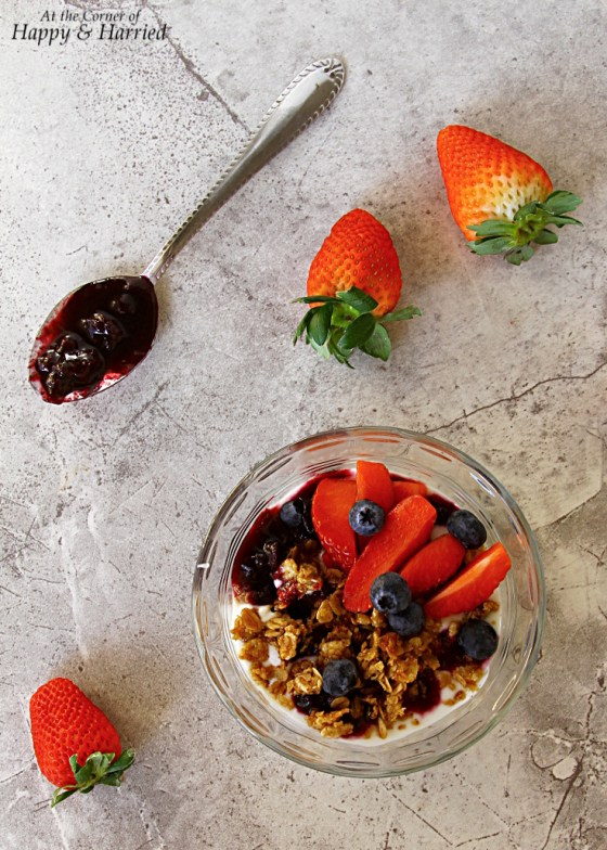 Yogurt And Granola Parfait With Blueberry Compote