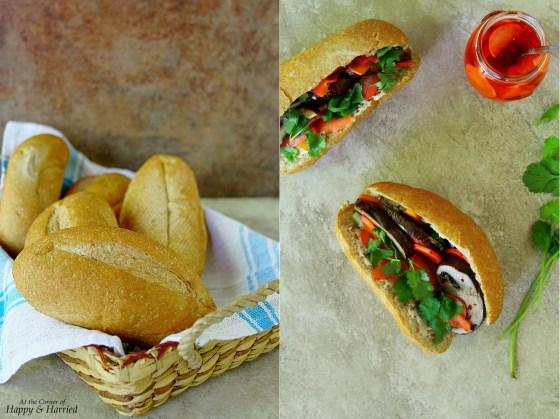 Grilled Portabella Mushrooms Vegetarian Banh Mi Sandwich
