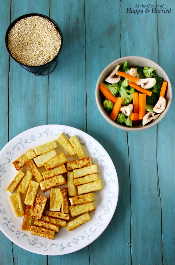 Ingredients For Quick Quinoa, Tofu And Vegetables Stir Fry