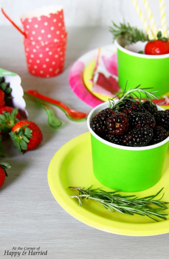Spring Berries and Herbs in Party Cups