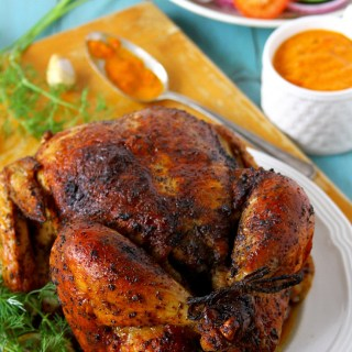 Whole Roasted Chicken {Seasoned With Sumac And Piri Piri Sauce}