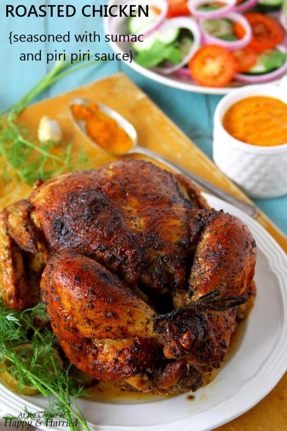 Whole Roasted Chicken {Seasoned With Piri Piri Sauce And Sumac}