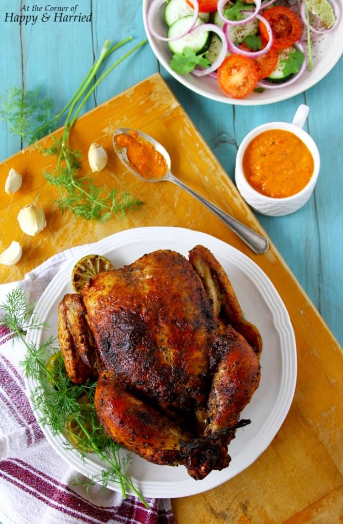 Whole Sumac Rubbed Roasted Chicken With Piri Piri Sauce