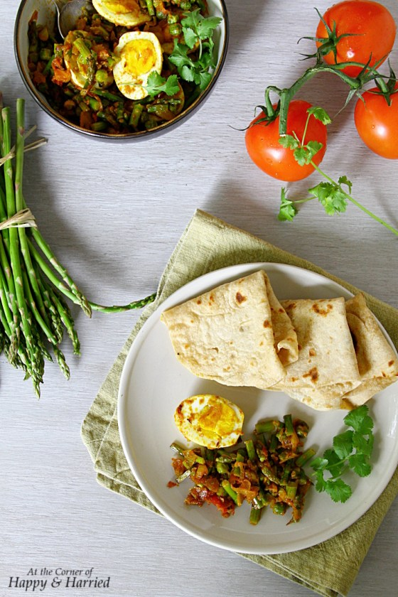 Asparagus, Peas And Egg Curry With Chapati Flatbreads