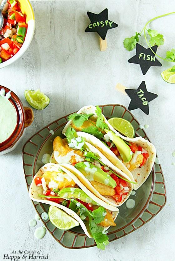 Crispy Fish Tacos With Jalapeno-Cilantro Sauce
