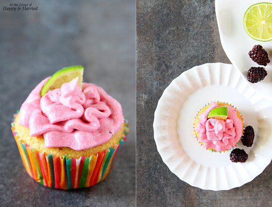 Lime Cupcakes With Blackberry Frosting