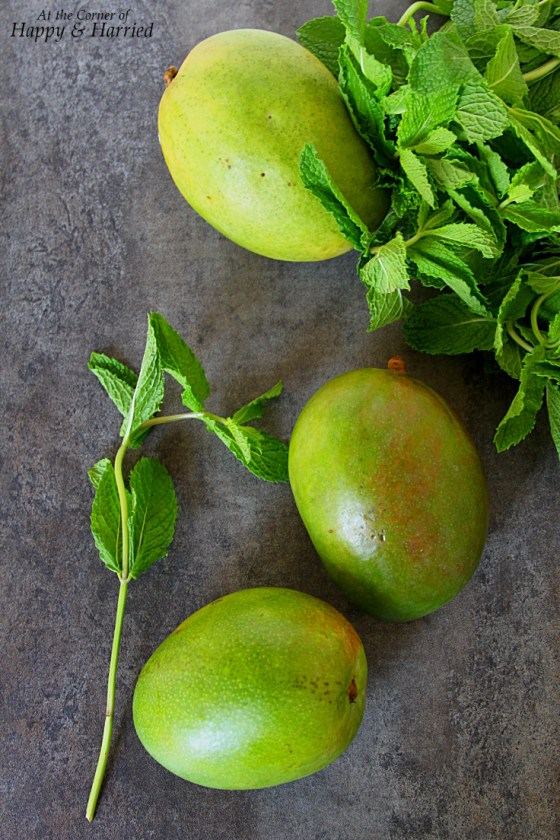 Sour Green Mango And Mint Leaves For Aam Panna