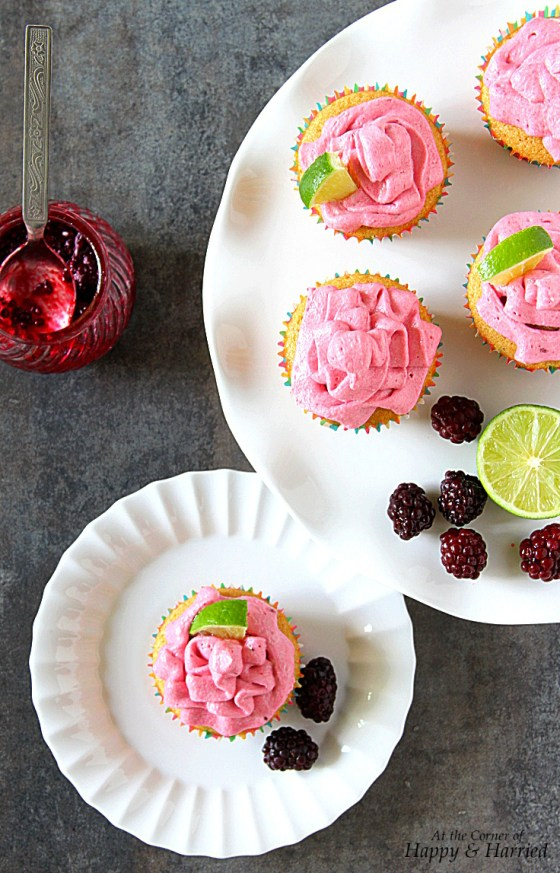 Vanilla-Lime Cupcakes With Blackberry Buttercream Frosting