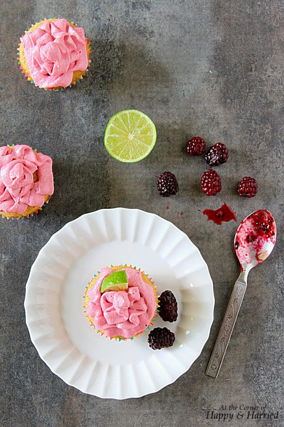 Wholewheat Vanilla Lime Cupcakes With Blackberry Buttercream Frosting