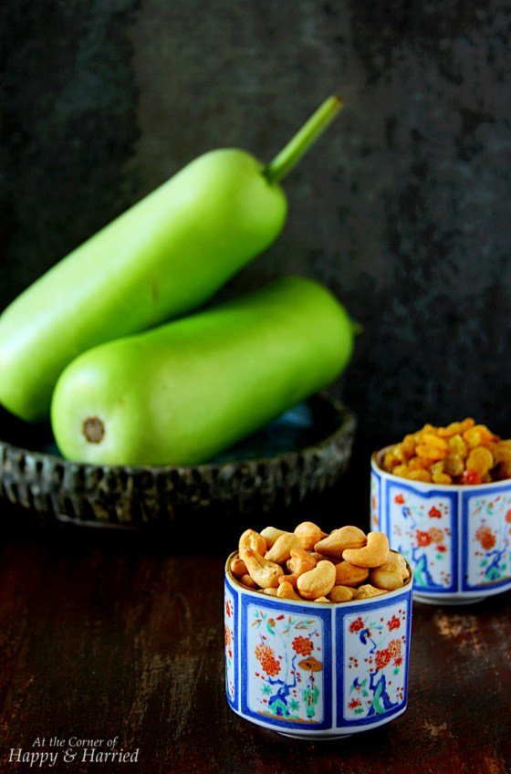 Lauki (Doodhi or Bottle Gourd) and Nuts for Indian Dessert