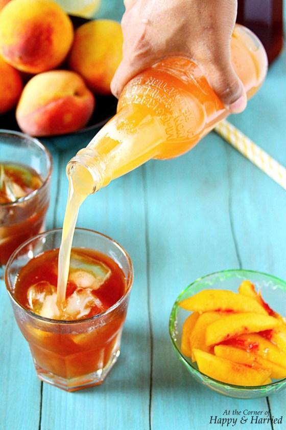 Peach Iced Tea Made With Peach Simple Syrup