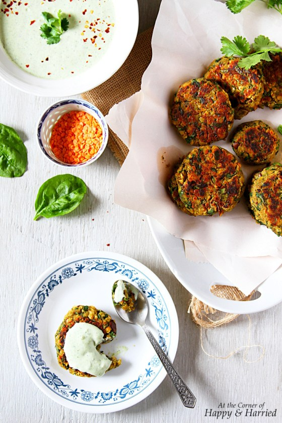 Lentil & Spinach Fritters With An Herby Yogurt Sauce