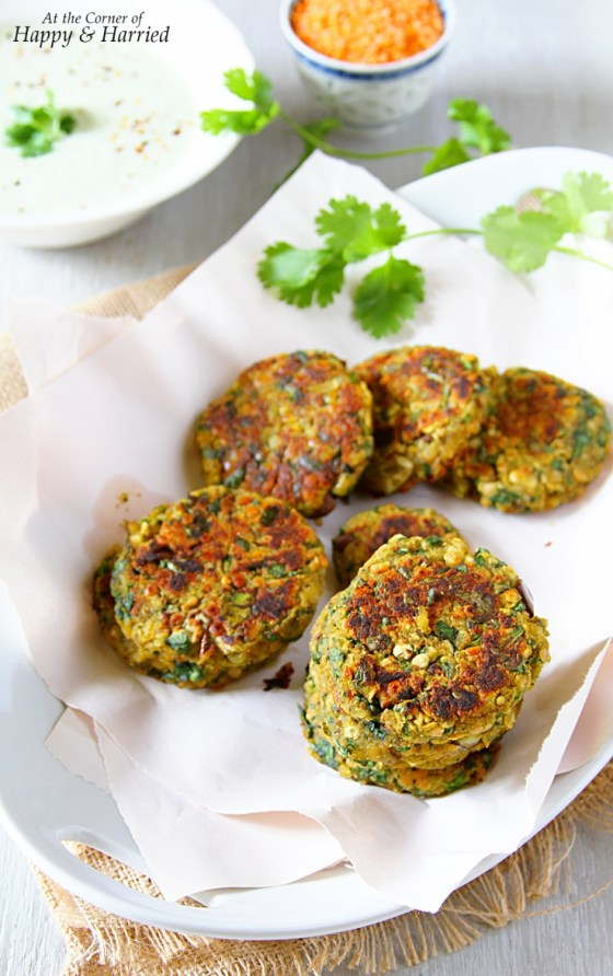Pan Fried Lentil & Spinach Fritters With An Herby Yogurt Sauce
