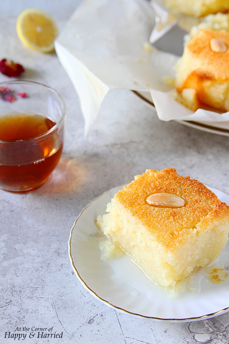 Basbousa {Semolina-Yogurt Cake With Lemon-Rose Syrup}