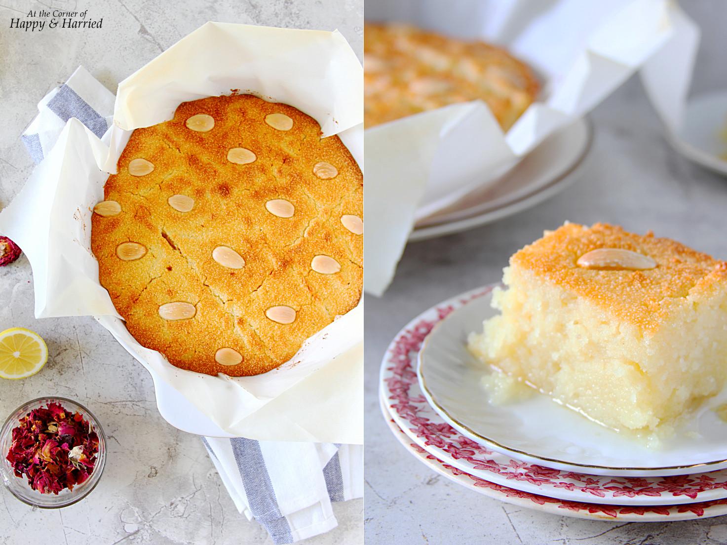 Basbousa {Semolina Cake With Lemon-Rose Syrup}