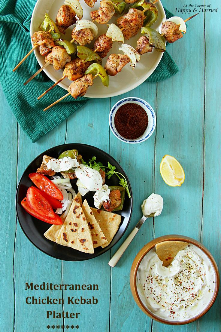 Mediterranean Chicken Kebab Platter {With Homemade Flatbreads & Creamy Feta Cheese Dip}