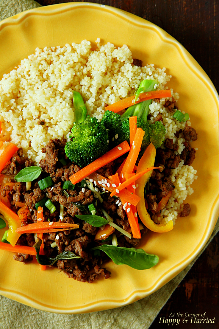 Thai Beef-Basil-Peppers Stir Fry With Couscous