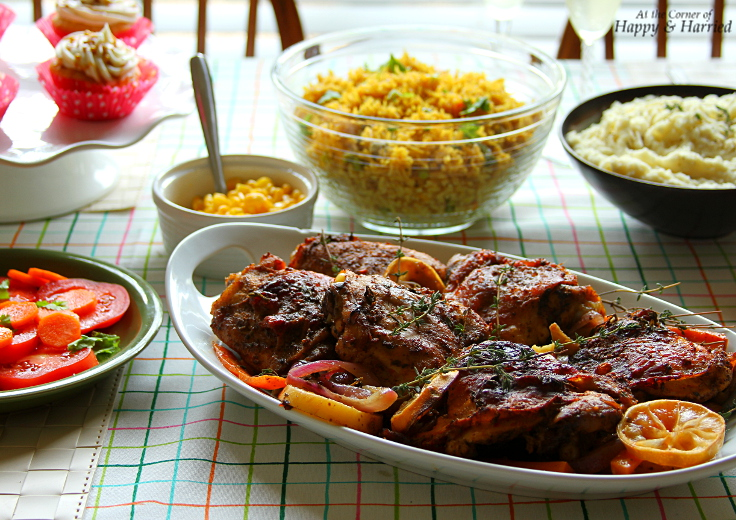 Indo American Thanksgiving - Blackened Spiced Roast Chicken, Pulao & Sides