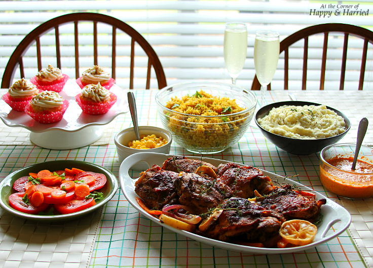 Indo American Thanksgiving - Roast Chicken, Pulao, MAshed Potatoes, Corn, Salad & Red Pepper Sauce