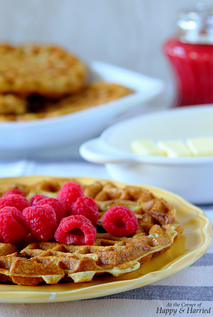 Lemon, Greek Yogurt & Berry Waffles With Raspberry Syrup