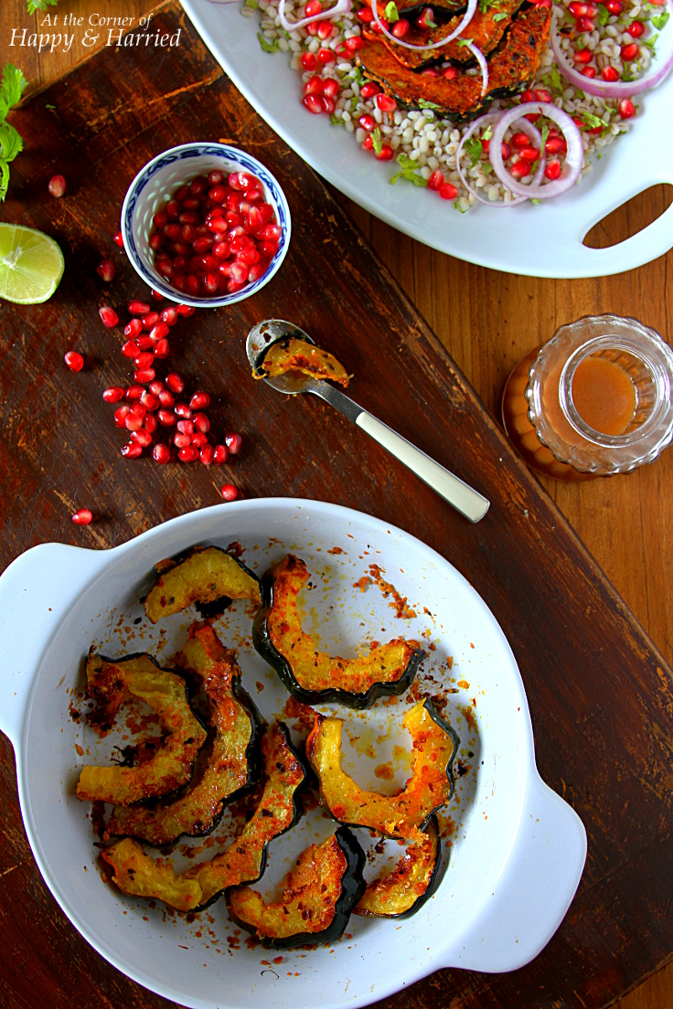 Oven Roasted Acorn Squash With Chili, Oregano & Parmesan