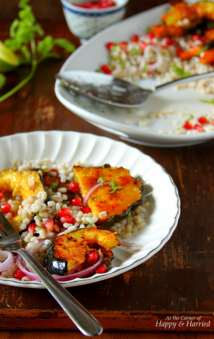 ROASTED ACORN SQUASH, BARLEY & POM SALAD WITH MAPLE-LIME DRESSING