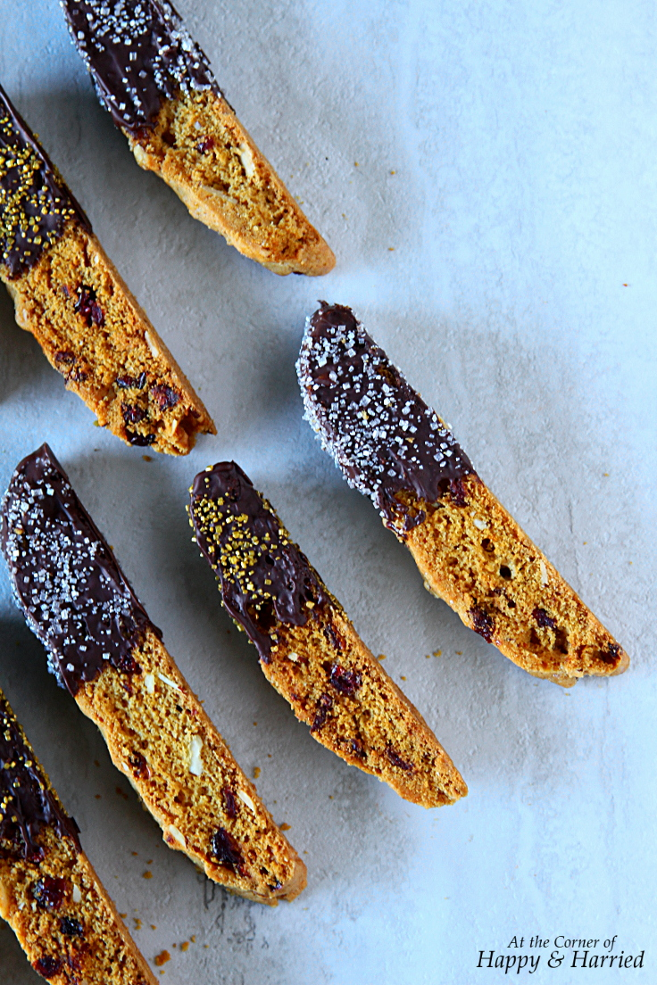 Christmas Baking: Chocolate Dipped Cranberry-Almond Biscotti