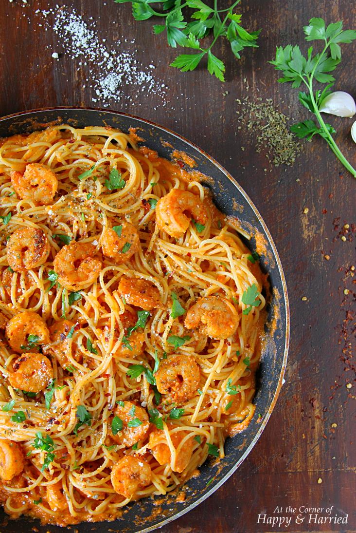 Shrimp Pasta In Creamy Tomato Sauce