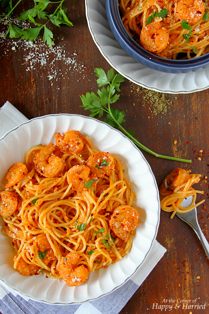 Shrimp Pasta In Spicy, Creamy Tomato Sauce, Parsley & Parmesan