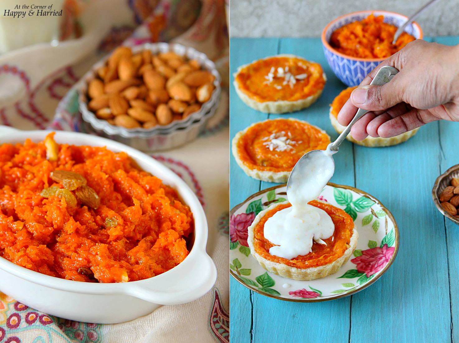 Carrot Halwa Mini Tarts With Orange-Vanilla Custard