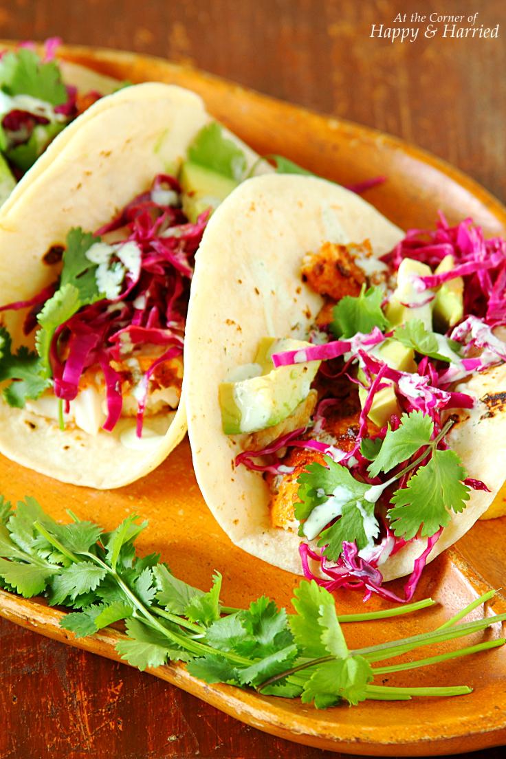 Fish tacos with cabbage slaw yogurt cilantro crema for Fish taco sauce yogurt