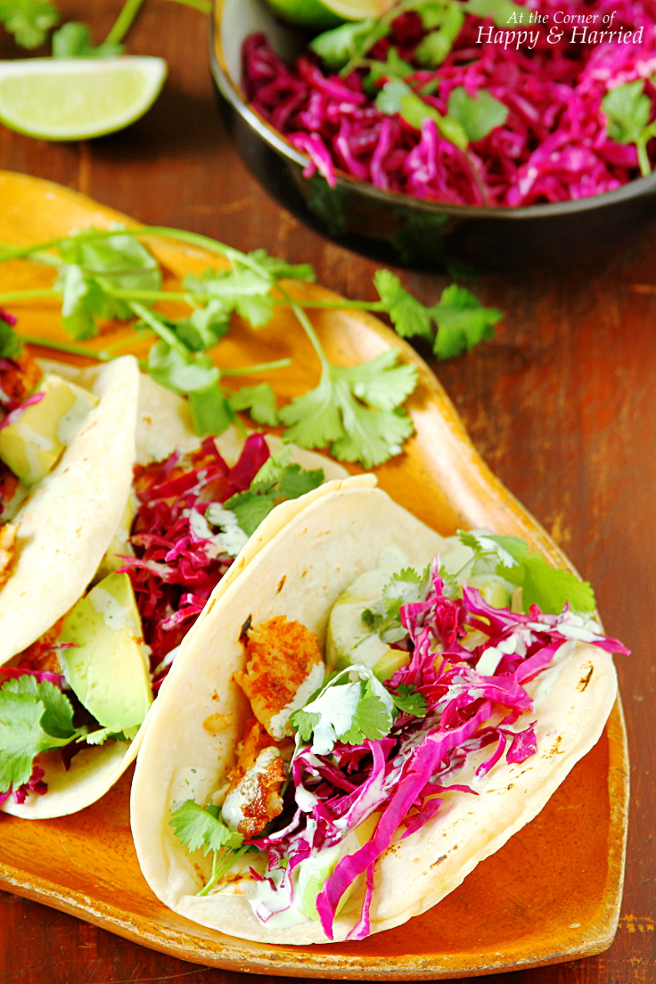 Fish tacos with cabbage slaw yogurt cilantro crema for Easy slaw for fish tacos