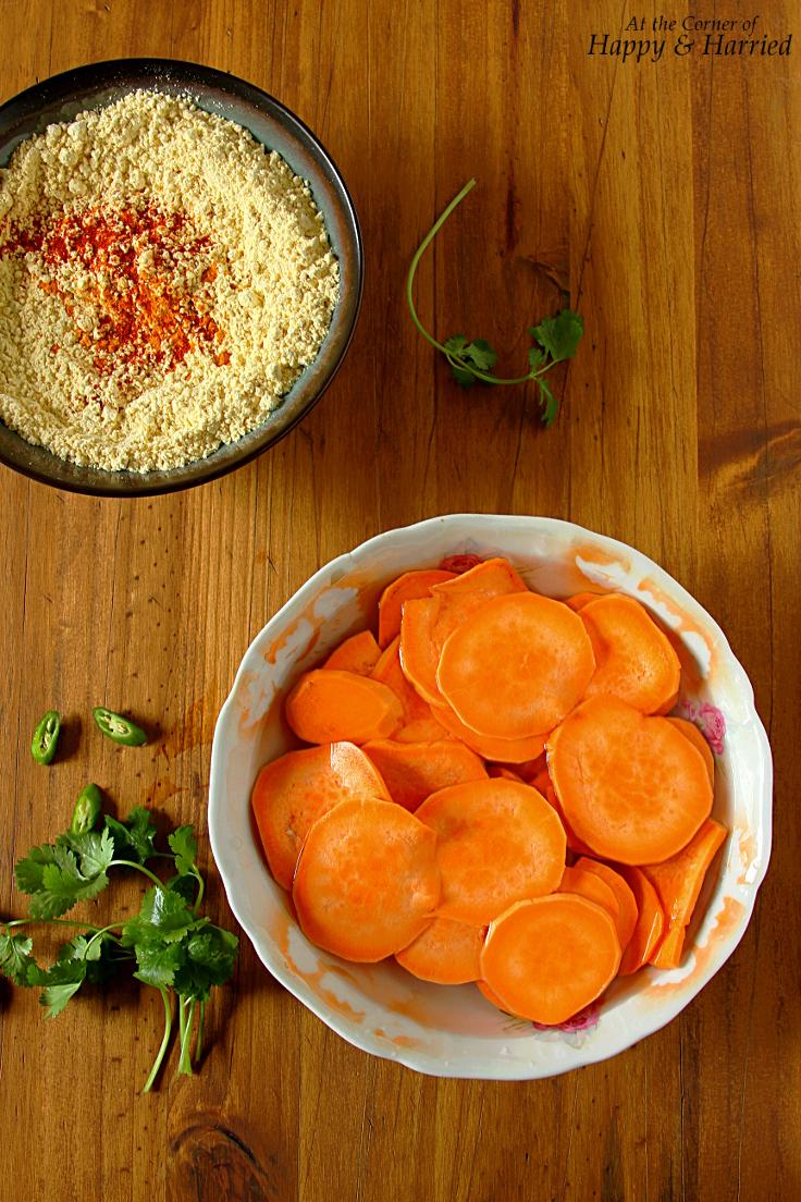 Sweet Potato Bhajji Pakore {Chickpea Flour Battered Sweet-Potato Fritters}