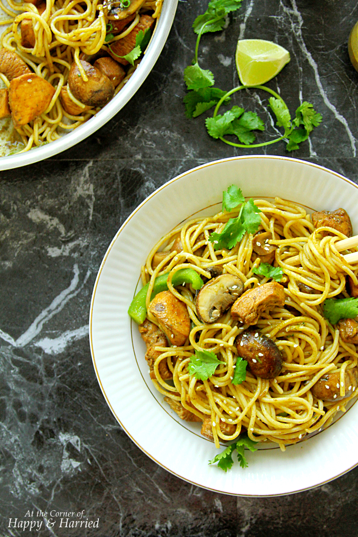 Asian Chicken Noodles With Cilantro Peanut Honey Sauce