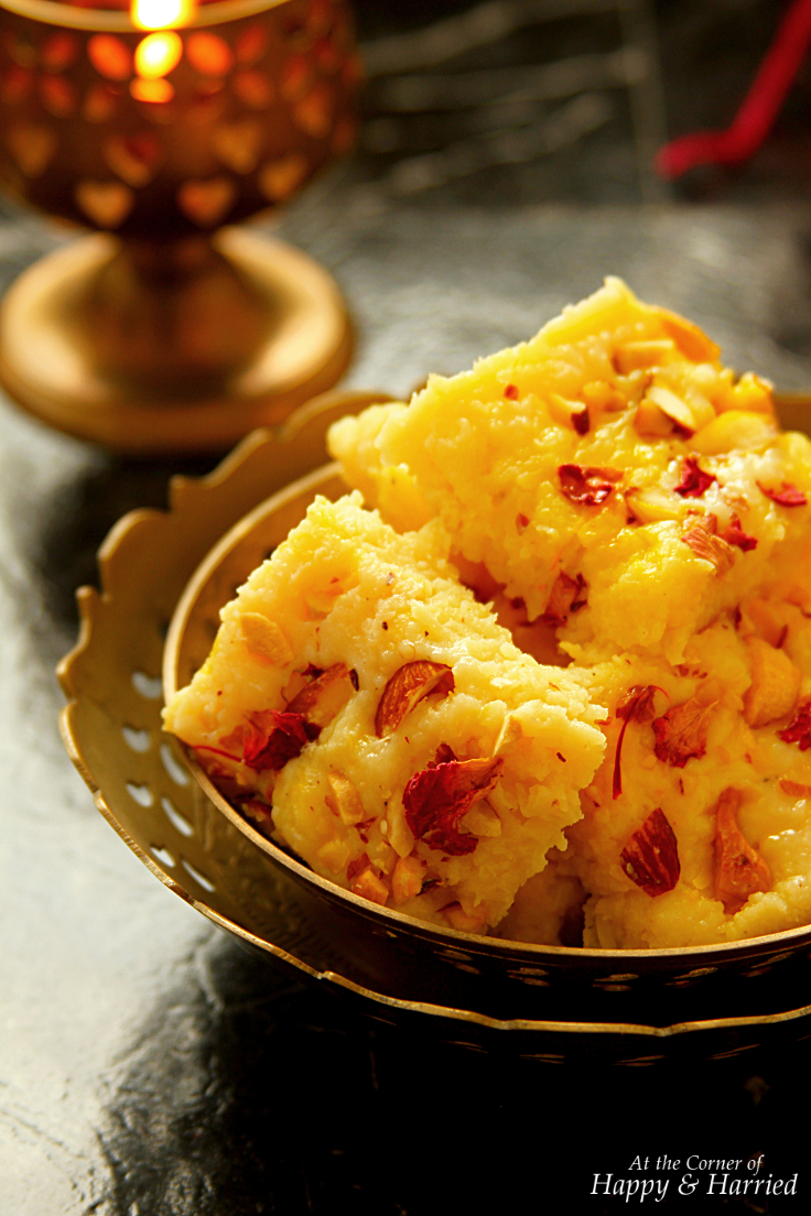 Kesar Kalakand {Indian Cottage Cheese Fudge}