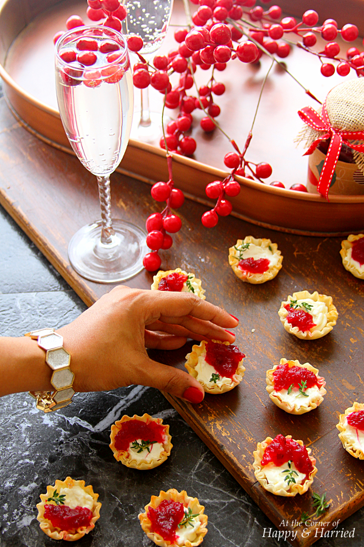 cranberry cream cheese mini phyllo bites christmas party appetizers