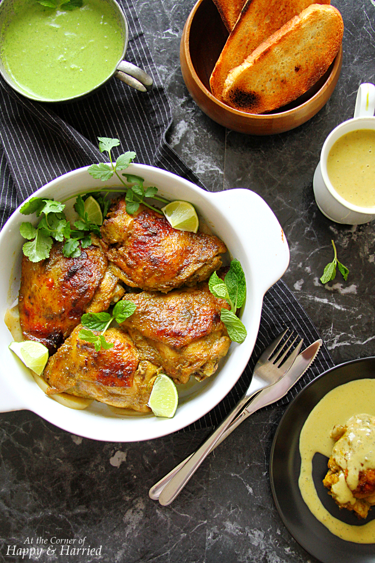 Indian Style Roast Chicken With Green Chutney Sauce