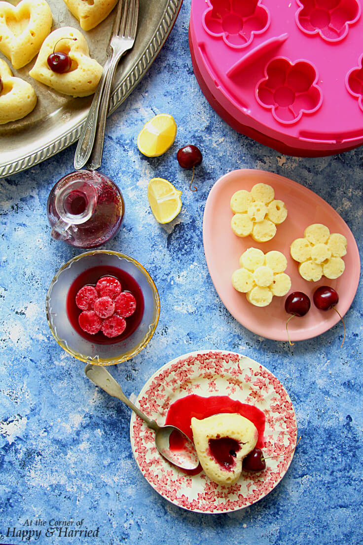 STEAMED MINI LEMON CAKES WITH FRESH CHERRY SYRUP - HAPPY&HARRIED
